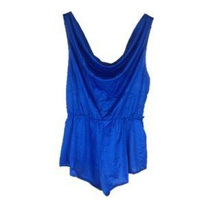 Vintage 70s 80s Blue Romper Lingerie Playsuit S M